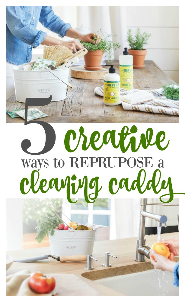 Here are 5 creative ways to repurpose a cleaning caddy plus an offer from Grove Collaborative for this caddy and products from Mrs. Meyer. Easy cleaning solutions and ways to stay organized. #cleaning #organizing #repurpose