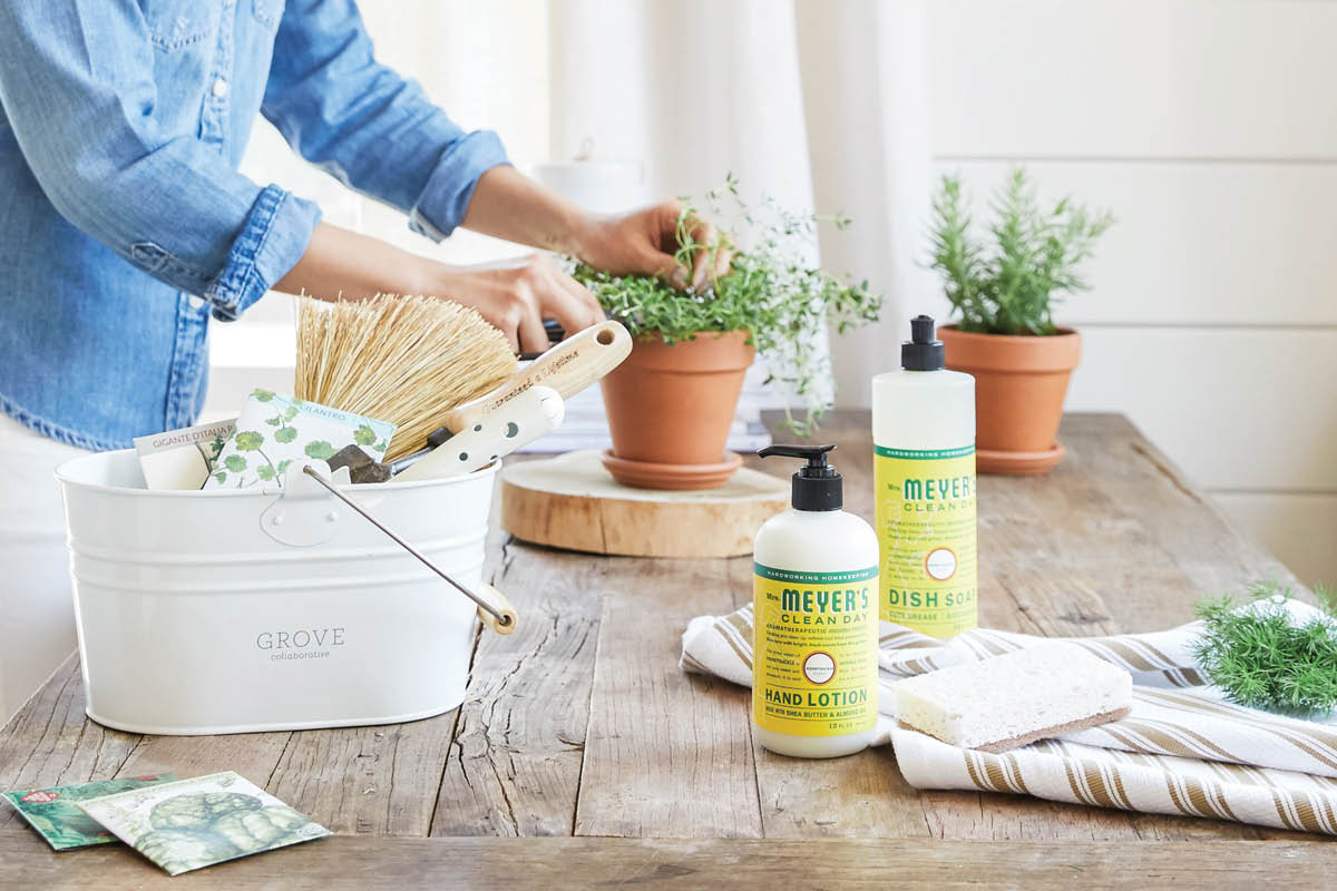 reuseing a cleaning caddy as a planter