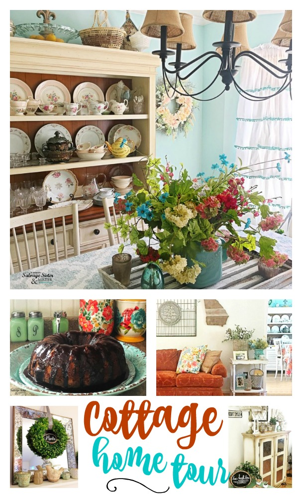 Come take a cottage home tour filled with vintage, antique, heirlooms, and flea market finds.  This is a great example of making a house a home and filling a home with meaningful things. Instagram feature abundant gracehome on salvagesisterandmsiter.com #cottagestyle #homedecor #fleamarketstyle #colorfulhome #vintage