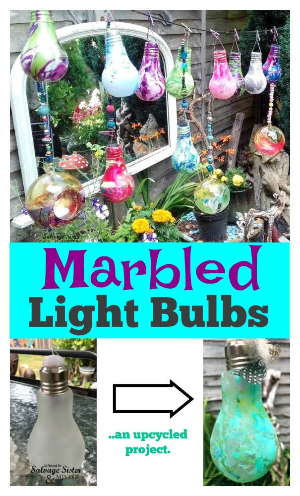 Making diy marbled light bulbs using old nail polish and some thrifted items for this unique garden decor.  Full tutorial for this fun craft on salvagesisterandmsiter.com
