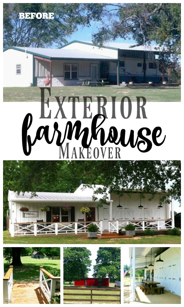 This exterior farmhouse makeover is truly amazing.  If you enjoy Fixer Upper style you will love this transformation. The entire remodel was all diy.  As featured on salvagesisterandmsiter.com  #diyhome #farmhouse #fixerupperstyle