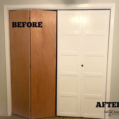 Before and After - updating bi-fold closet doors featured on salvagesisterandmsiter.com