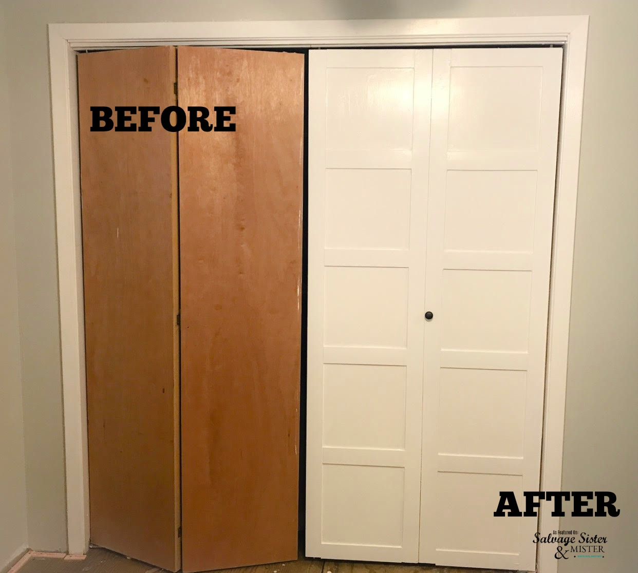 Before And After Updating Bi Fold Closet Doors Featured On Salvagesisterandmsiter