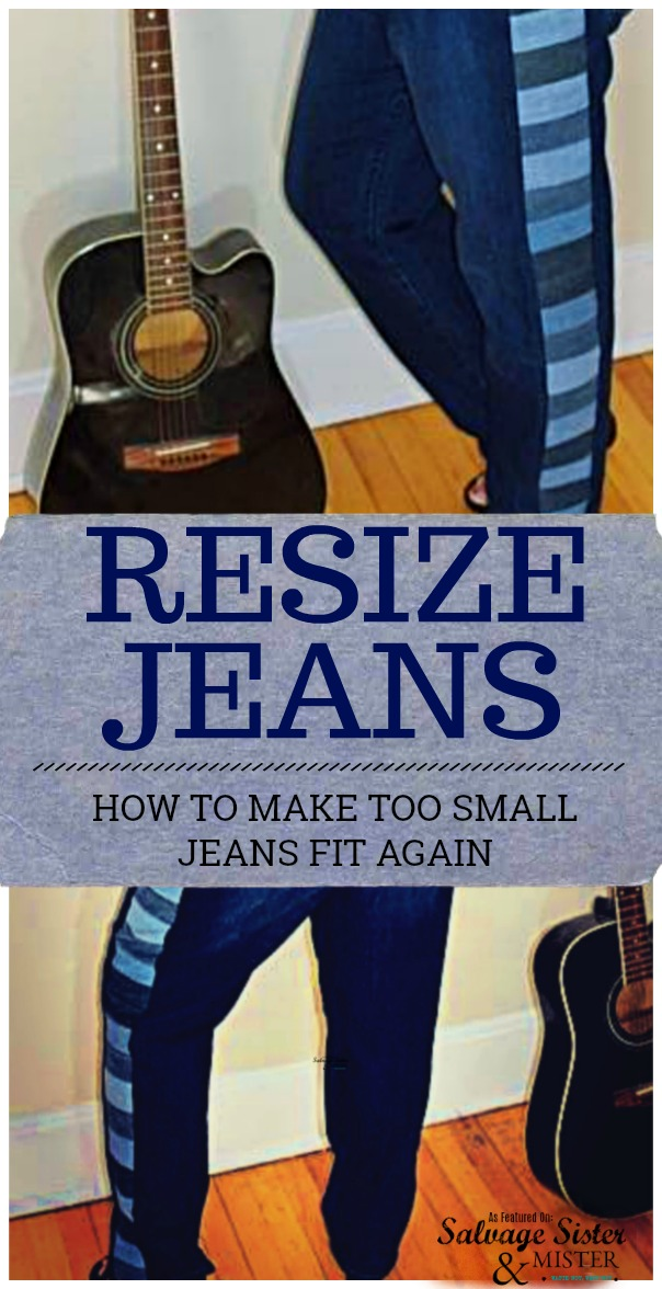 Jeans too small?  Repurpose some old jeans and make those pants fit again.  Sewing tutorial to update small jeans to fit.  #repurpose #sewing #upcycle #jeans featured on salvagesisterandmister.com