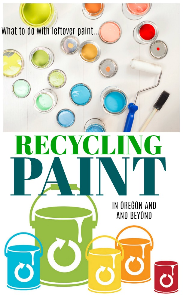 Recycling paint oregon and beyond - What to do with leftover household paint from DIY projects, home makeovers, room refresh, crafts, and more? Recycle that paint so that it can be reused or properly disposed of. Check to see if your state has PaintCare sites near you. #oregon #recycling #paint #sponsored
