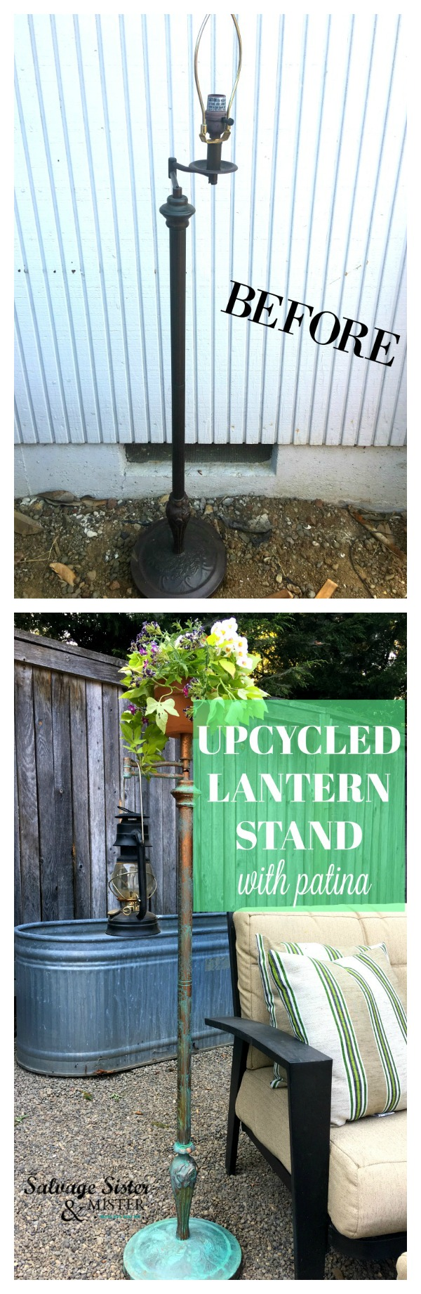 Got a free arm lamp and turned it into an upcycled lantern stand with patina for our backyard.  This was a simple diy project that took hardly anytime or supplies and is budget friendly. #repurpose #reuse #patina #upcycle found on salvagesisterandmister.com