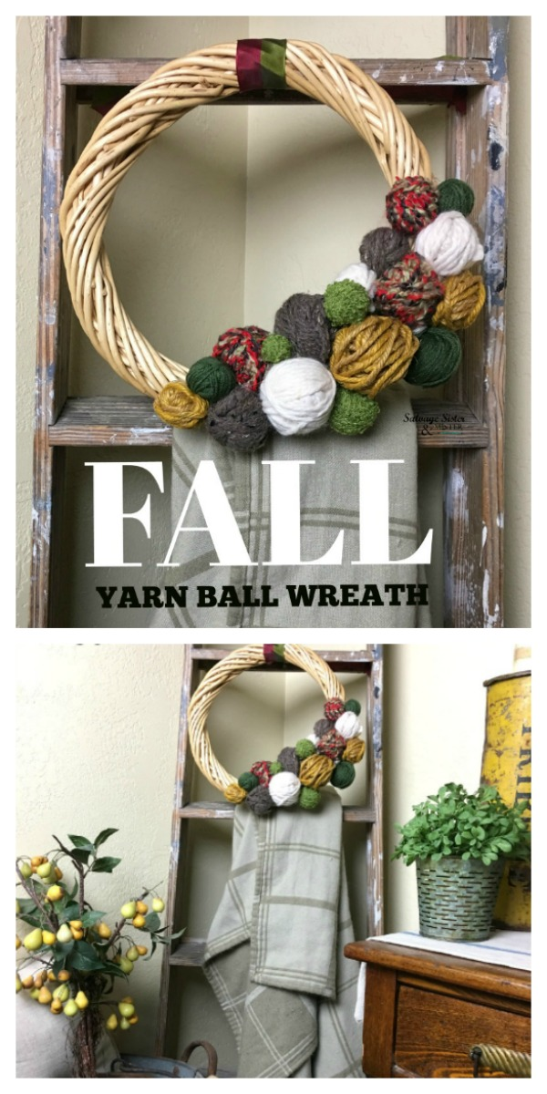 Thrifted DIY Fall Yarn Ball Wreath. This is a quick, easy, and inexpensive craft to make. You can make it for any holiday or just for your front door. Use up leftover yarn (reuse) for a craft night with friends. #diy #wreath #craft
