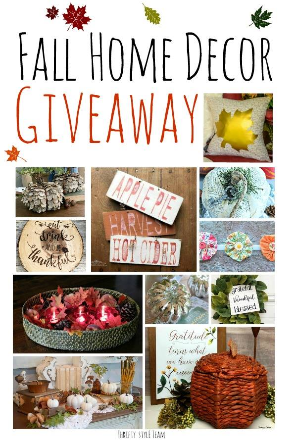 Fall Home Decor Giveaway with the Thrifty Style Team. Come and see, and enter, for these fall home decor items. #giveaway #falldecor #budgetdecor