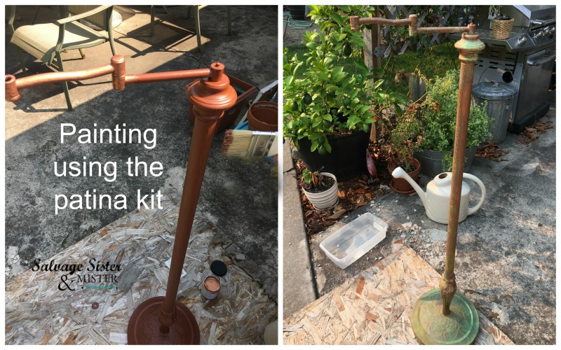 Turning a lamp into an upcycled lantern stand and using a patina kit to age the piece at salvagesisterandmister.com