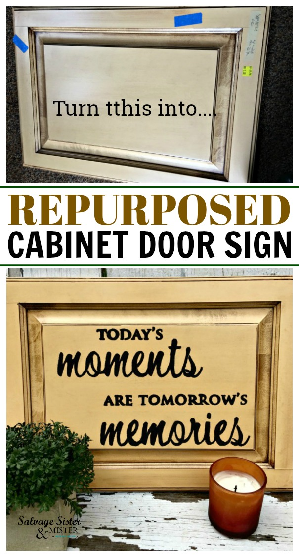 Have some old kitchen cabinets lying around? Here is a great upcycle for them - Repurposed Cabinet Door Sign. Easy to make and budget friendly. #budgethomedecor #upcycle #repurpose find details on salvagesisterandmister.com