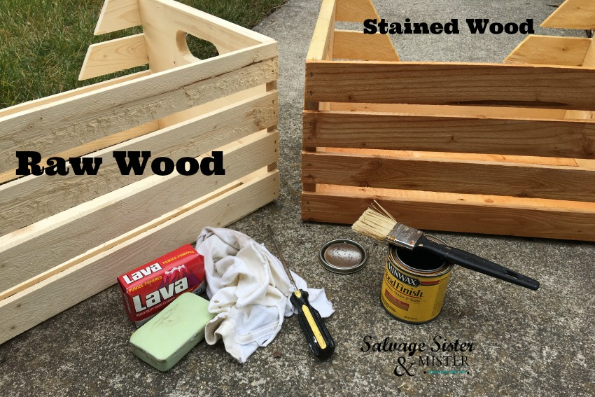 Staining wood crates to creat a diy home recycle bins area to organize recycle items prior to collection. Seen on salvagesisterandmister.com