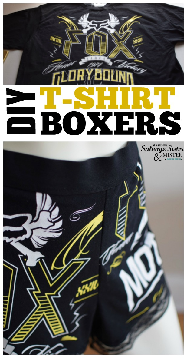 Featured post - DIY T-Shirt Boxers tutorial.  Reuse old t-shirt to make boxers for men or women.  Full sewing instructions found at salvagesisterandmister.com #sewing #repurpose #reuse