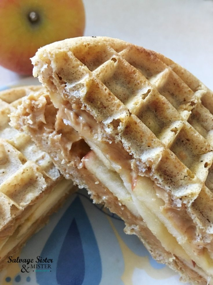 Quick on the go breakfast waffle sandwich is easy to make and great for adults or kids