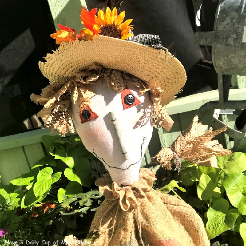 Fall decoration - Pitchfork Scarecrow for the garden This fun repurposed project is easy to do and has a free PDF file to print. Fun fall craft #repurpose #falldecor #craft as featured on salvagesisterandmister.com