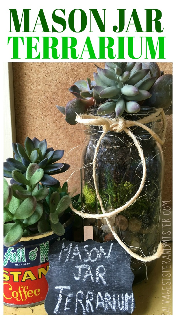 Easy Craft - Upcycled mason jar terrarium is a great way to reuse an old jar. With a few supplies you can make these for your home, gifts, or for a table decoration. #reuse #repurpose #upcycle