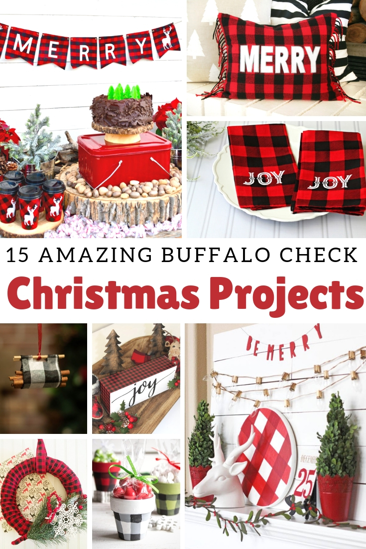 15 Buffalo Check Christmas Projects to make for your home or to gift it. Buffalo check is so versitle and goes with rustic or farmhouse decor AND it's on trend this year too. Several projects use things you already have around your home. #buffalocheck #diychristmascrafts #plaidchristmas