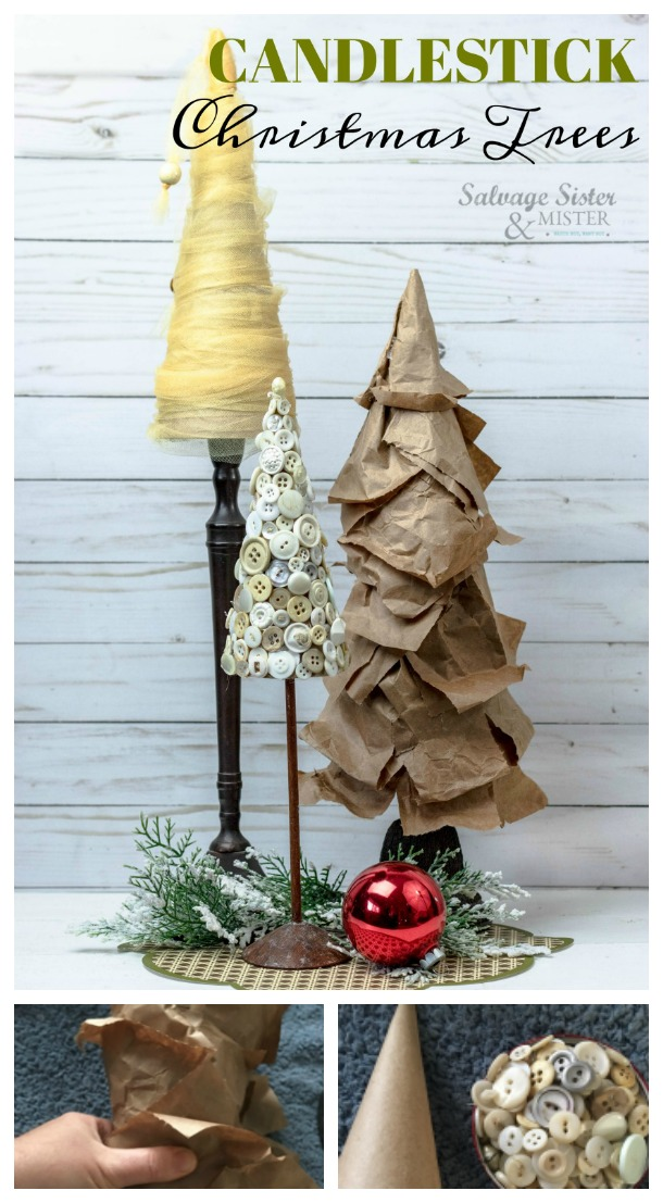 Christmas Craft - Christmas Tree Cone Candlestick Trees using items from around the home to decorate for the holidays using what I already had. Great repurpose items making it budget friendly and less wasteful. #christmascraft #reuse #wastenotwantnot