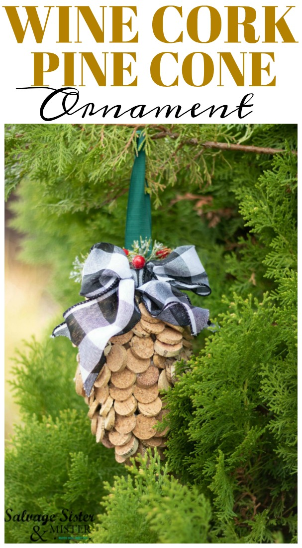 "Fun holiday craft - ""If anyone asks, I'm drinking all this wine to collect corks for a project I saw on pinterst"" like this DIY wine cork pine cone ornament. Fun for a rustic Christmas decoration for your home or tree. Also could gift it away. Learn how to make it at salvagesisterandmister.com"