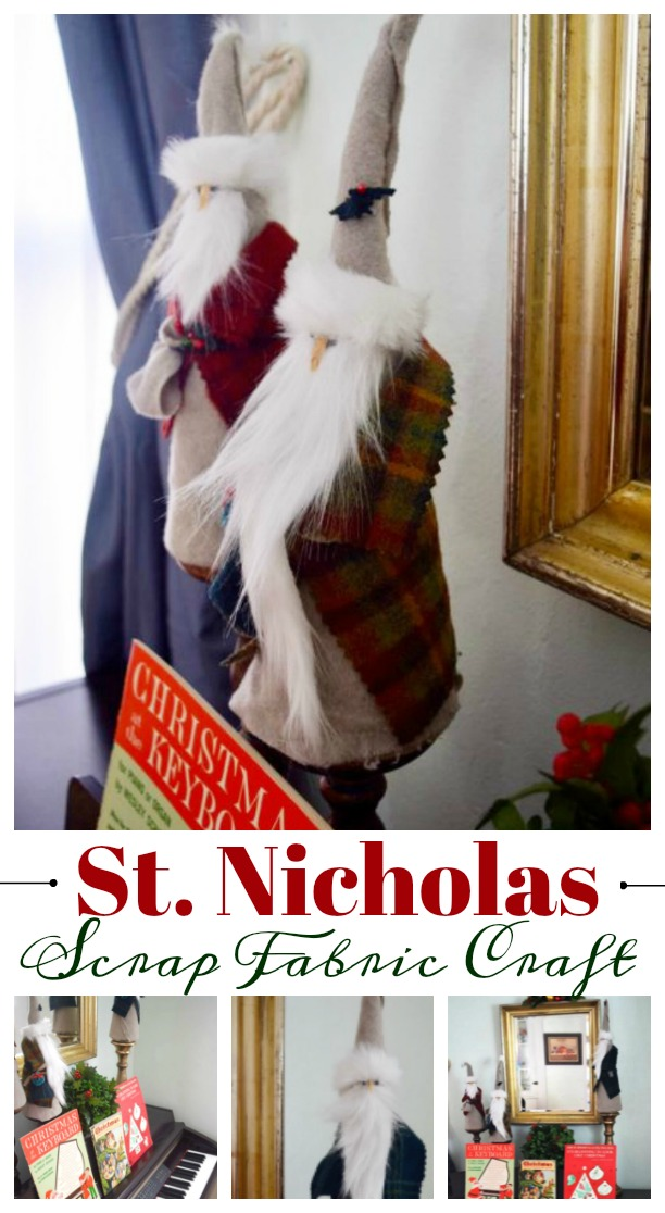 Have some extra fabric on hand? Create this jolly Saint Nicholas Scrap Fabric Craft with supplies on hand. Vintage/retro St Nick looking. #diychristmas #Diychristmasdecor #christmascraft #stnick as featured on salvagesisterandmister.com