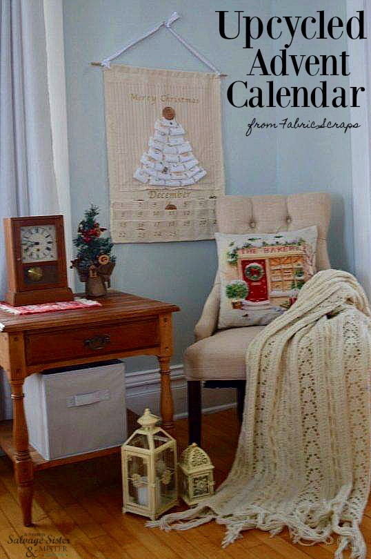 Using fabric scraps and other craft supplies to make this UpCycled Advent Calendar from Fabric Scraps as featured on salvagesisterandmister.com #adventcalendar #christmascraft #reuse
