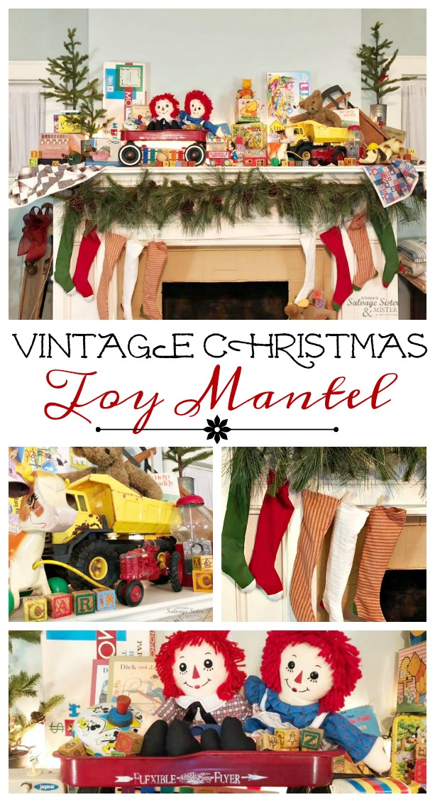 Fun retro Christmas decor - Vintage Christmas Toy Mantel with toys from yesteryear. This is a budget friendly holiday decor option and a fun way to decorate your mantel for the holidays. Find more at salvagesisterandmister.com #holidaymantel #christmasdecor #christmasmantel