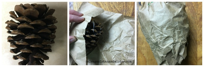 DIY HOLIDAY CRAFT - WINE CORK PINE CONE ORNAMENT on salvagesisterandmister.com