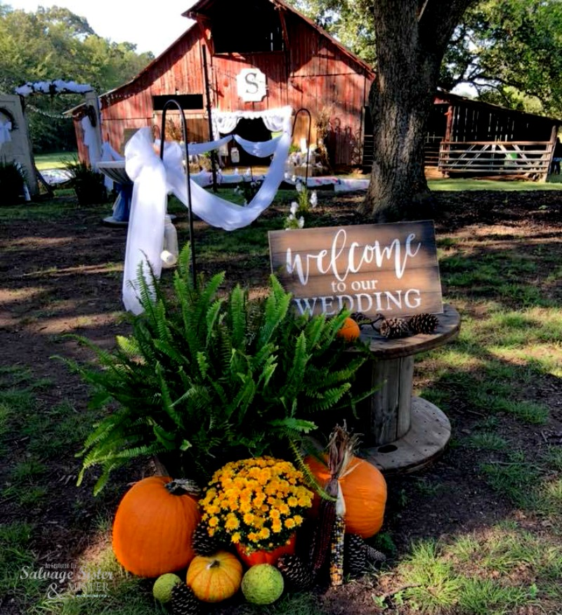 welcome to our wedding entrance to a farm backyard barn wedding