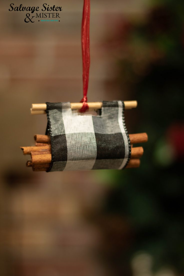 Buffalo Check Log Carrier Ornament