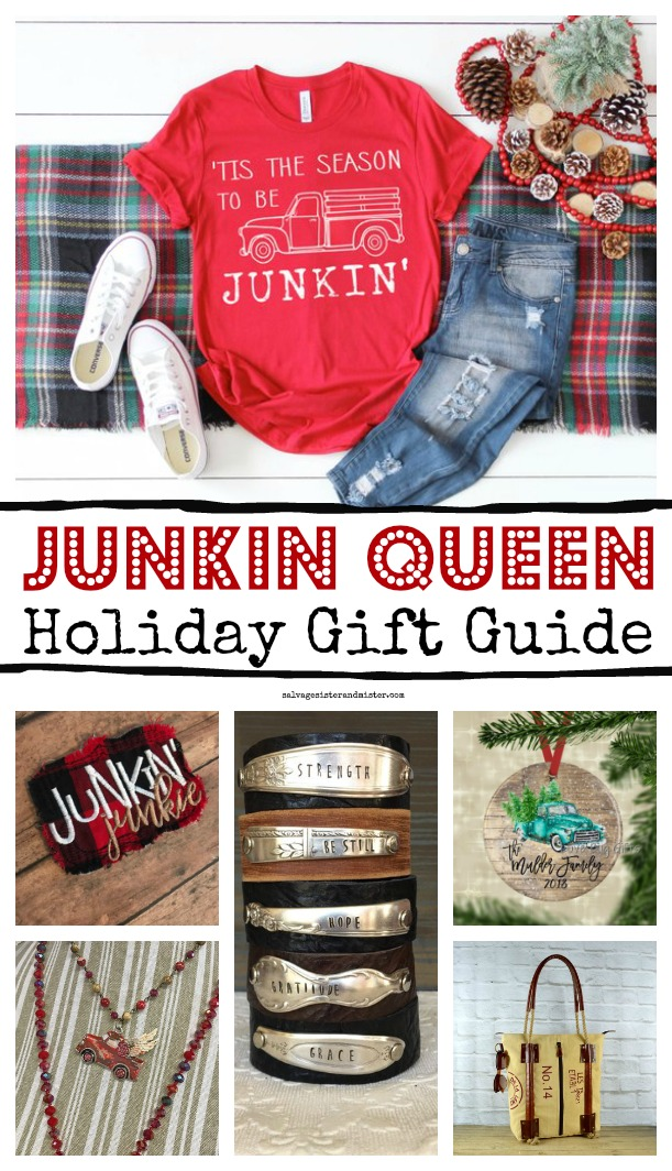 Junkers, Thrifters, or Flea Market Mavens and Flippers...here is the junkin queen gift guide of items that will fill their heart with junkin love. #giftguide #junkinqueen #fleamarketstyle