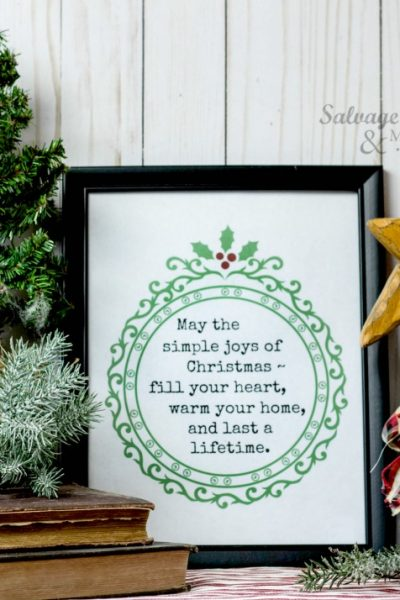 The Simple joys of Christmas printable on salvagesisterandmister.com