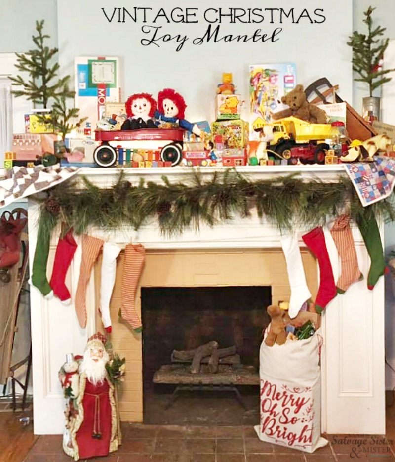 A Vintage Christmas Toy Mantel - retro toys make for a Cute Christmas mantel #christmasmantel #mantel #christmasdecor on salvagesisterandmister.com