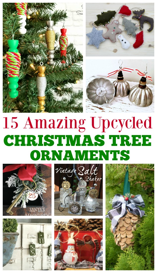Upcycled turns the discarded into something useful - here are 15 upcycled Christmas tree ornaments to create using what you have.  Make it a grils night out or crafting with your kids.  These DIY ornaments are fun to make and so resourceful. #upcycled #christmasornaments #reuse found on salvagesisterandmister.com