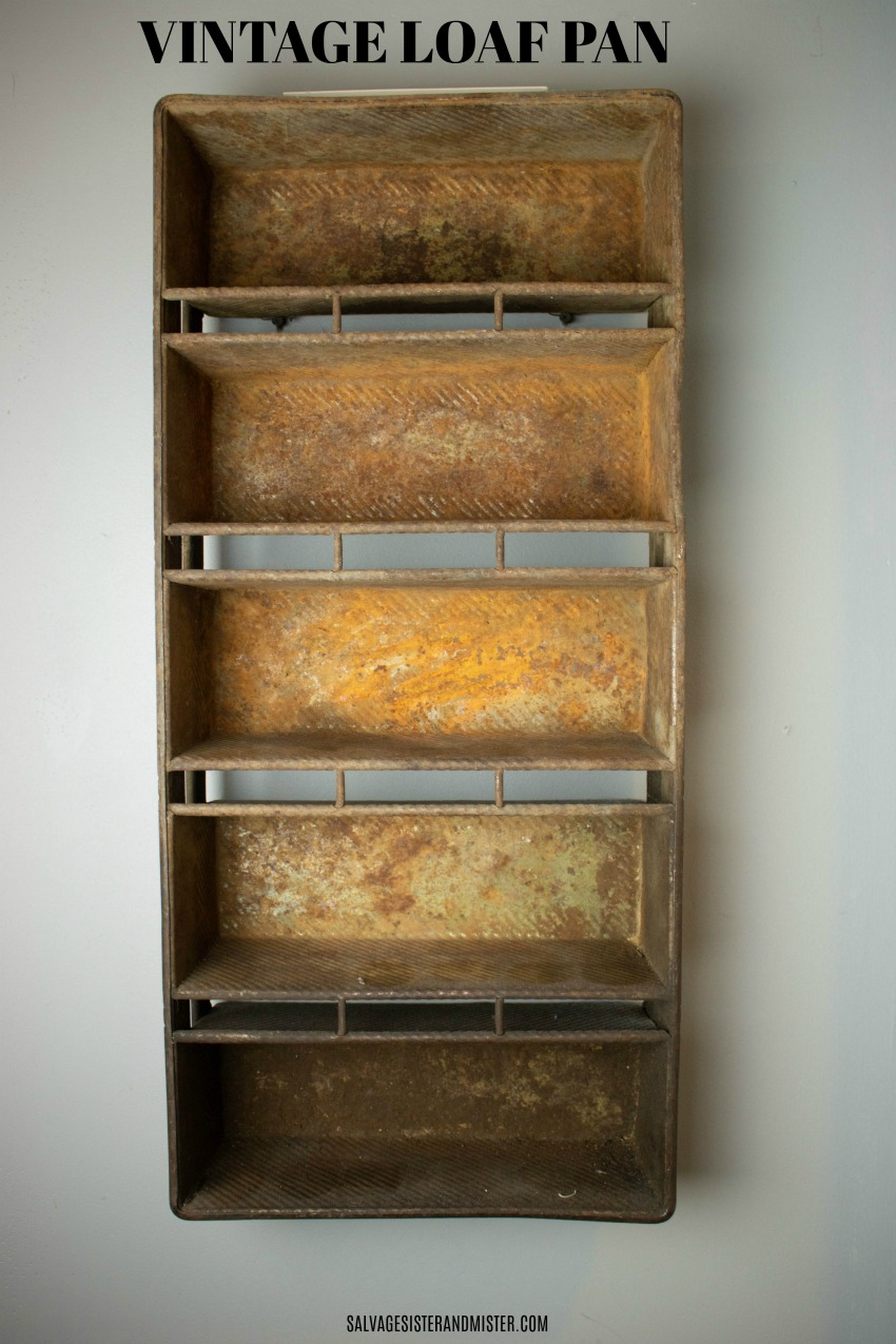 Upcycle Project - Vintage loaf pan spice rack on salvagesisterandmister.com