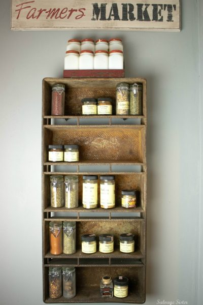 Turn an old item into something useful. Vintage loaf pan spice rack is a great flea market flip and a way to make whats old new again. Perfect for a pantry. storage #upcycle #vintage #repurpose