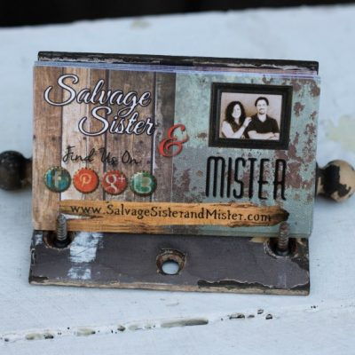 Vintage hardware becomes a hinge business card holder on salvagesisterandmister.com
