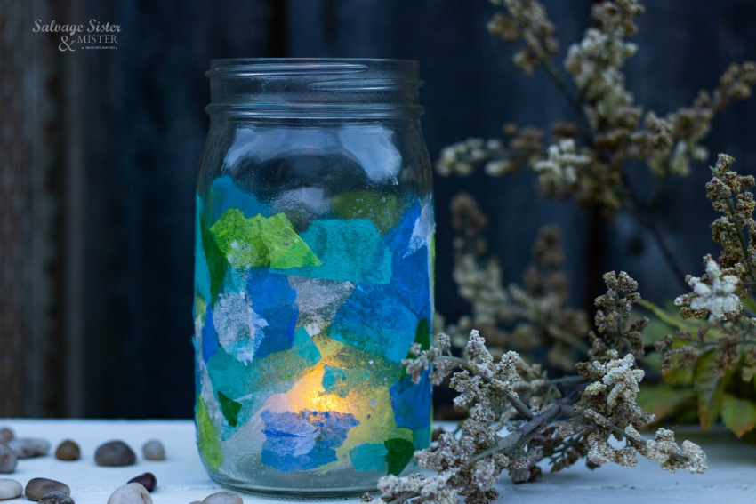 Got tissue paper? Join us on salvagesisterandmister.com to create a DIY sea glass vase using items you have on hand. Easy craft to make and great for coastal decor #upcycle #repurpose