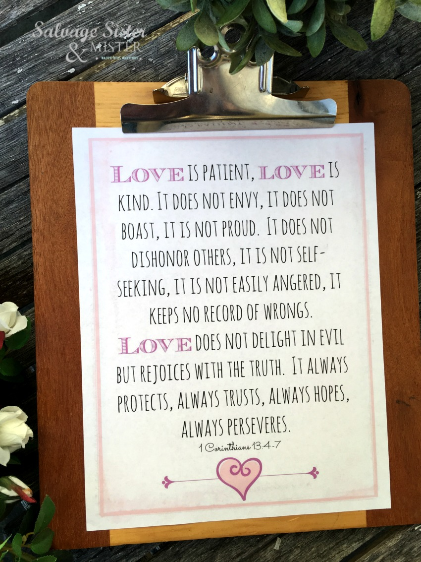Love is free printable, love is patient, love is kind, 1 Corinthians 13 love chapter #freeprintable #love #valentinesprintable
