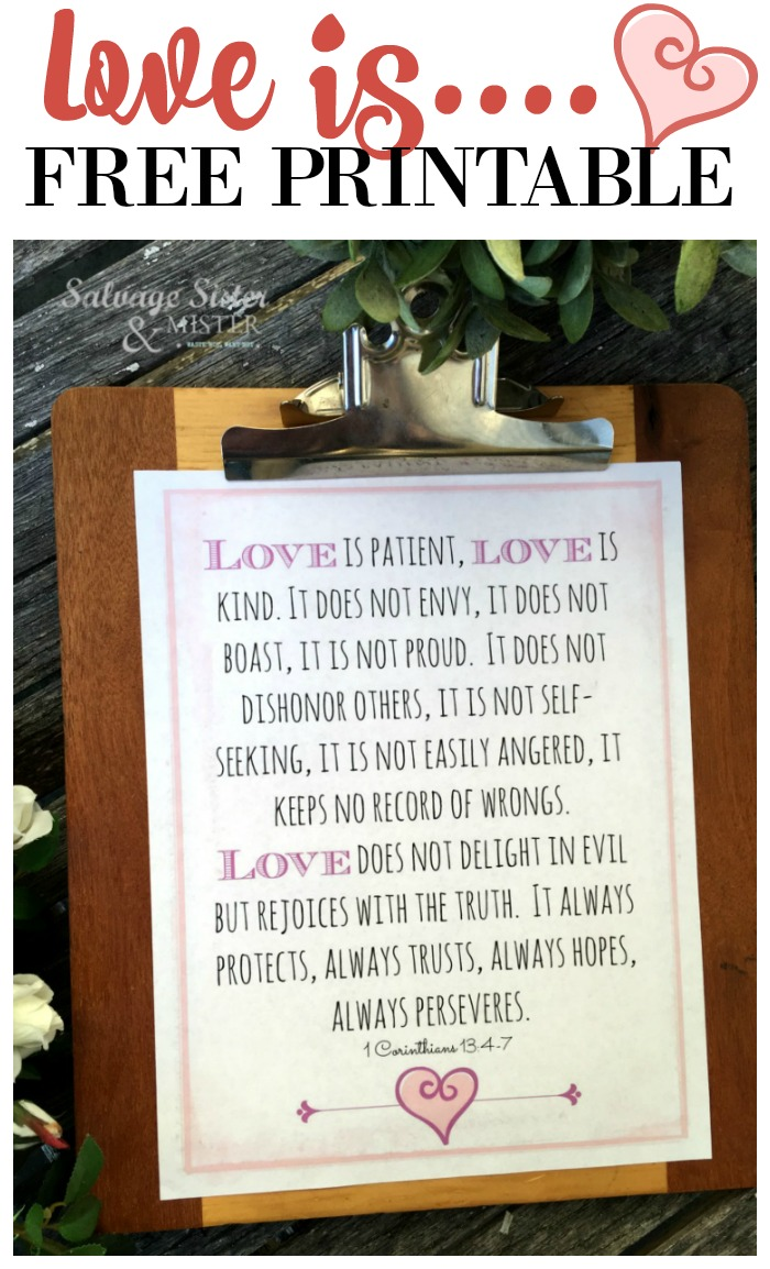Valentine decor, love is free printable of 1 Corinthians 13 Bible, love chapter, #bibleverse #holidaydecor #valentines #freeprintable
