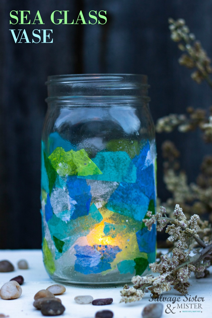 When life gives you tissue, you make a DIY sea glass vase. An easy craft to make and add some coastal charm to your home or for your outdoor patio. #reuse #repurpose #easycraft on salvagesisterandmister.com