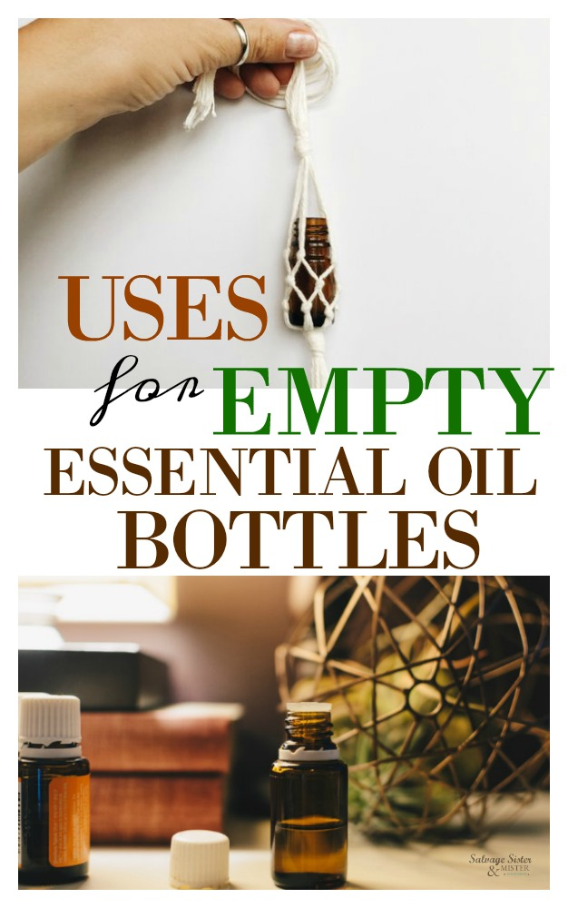 Don't know what to do with those essential oil bottles? Here are some ideas and crafts of uses for empty essential oil bottles. #reuse #upcycle #repurpose on salvagesisterandmister.com