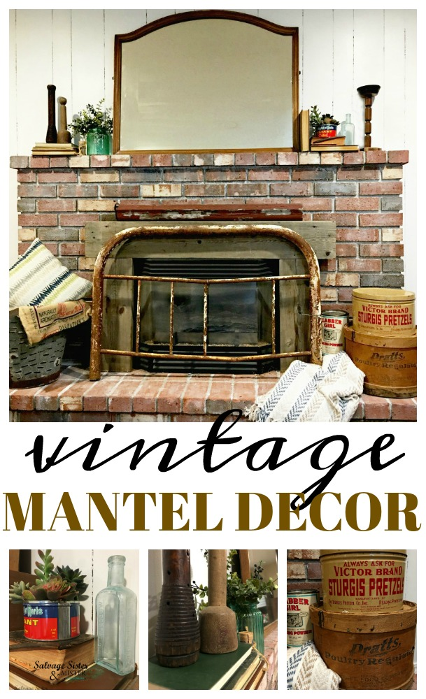 I love thrifting and decorating using what I have. This budget friendly vintage mantel decor is easy to put together with things found in your home. #mantel #budgetdecorating #vintage