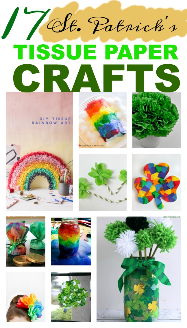 It's the luck of the Irish.  Here are 17 St. Patrick's Day tissue paper crafts.  Fun for kids or kids at heart or party decor.  #crafts #reuse #upcycle