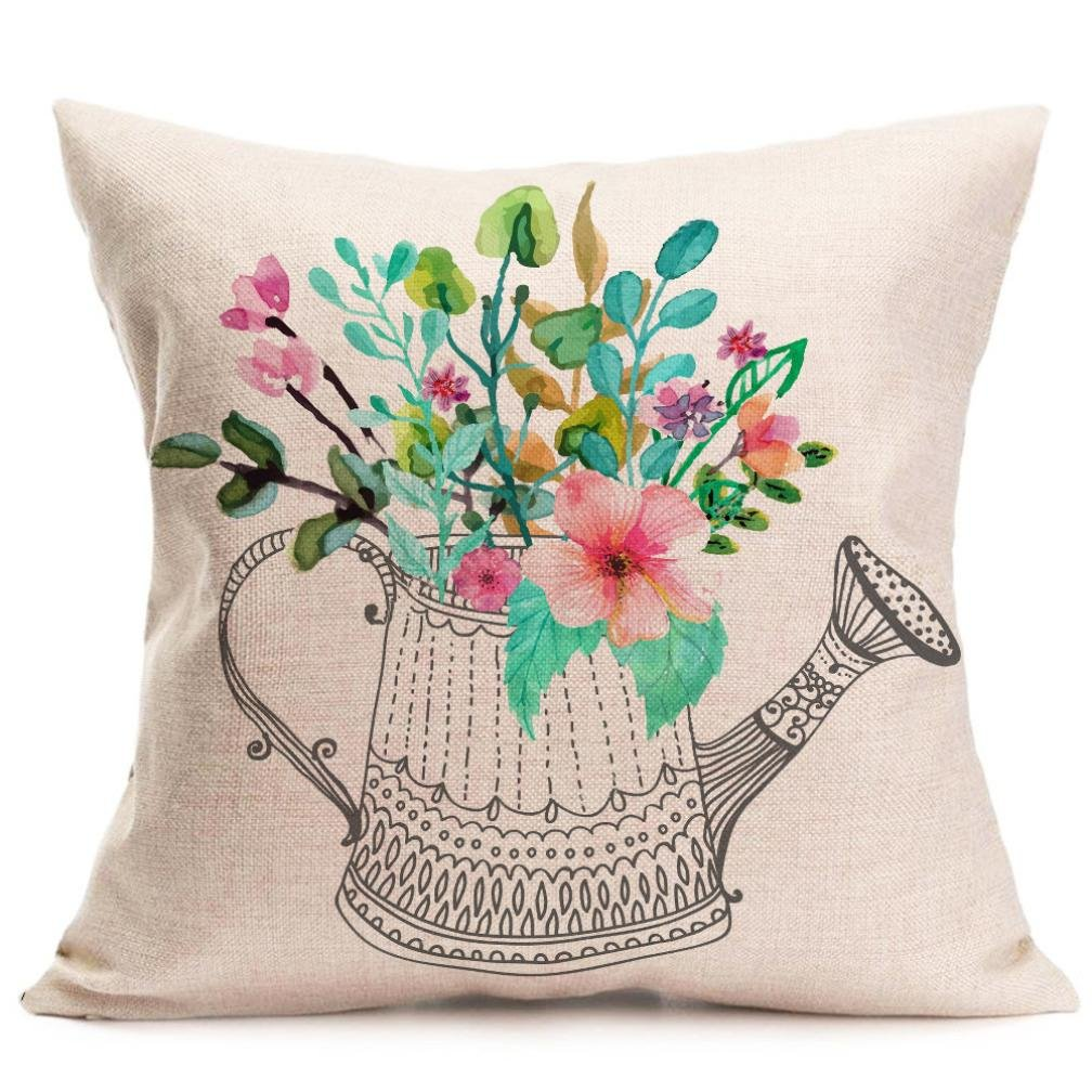 A watering can with flowers pillow cover for spring home decor affiliate link