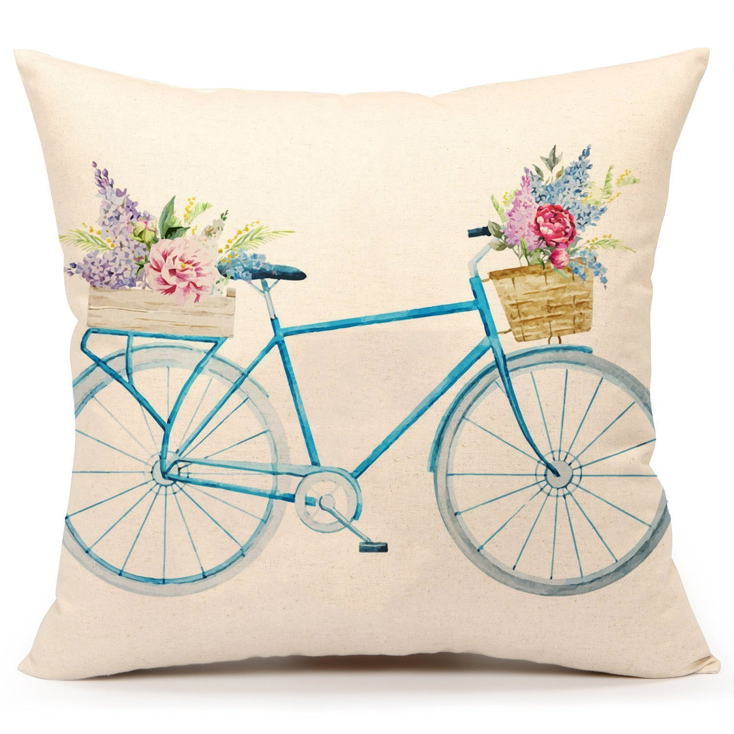 A vintage bike with spring flowers pillow cover - budget friendly home decor aff link