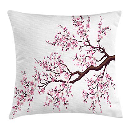 Japanese cherry blossom pillow cover for spring affiliate link