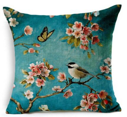 Spring floral pillow cover blue with butterfly and bird aff link