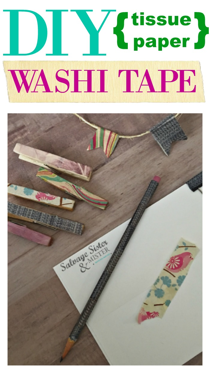 Don't toss that tissue paper. You can reuse / repurpose it to make your own washi tape. Cutommize your own washi to what you need and save yourself from buying tons of extra tape. Easy diy project using what you have on hand. Found on salvagesisterandmister.com #reuse #crafts #washi
