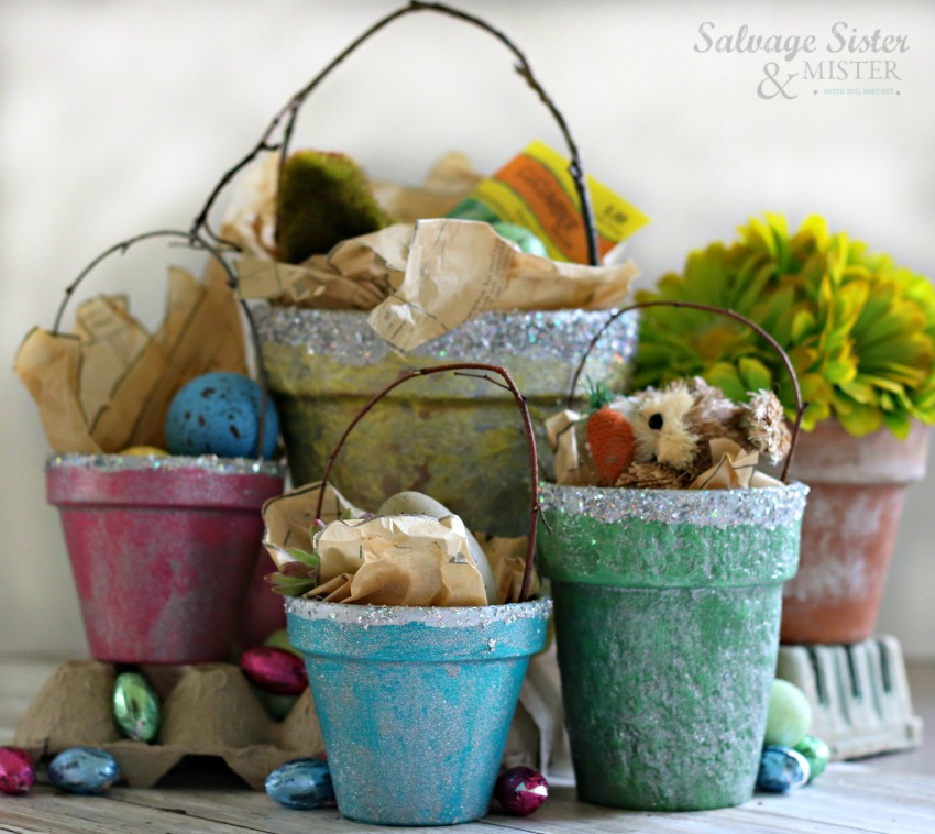 Colorful Spring Terracotta Pot Basket on salvagesisterandmister.com