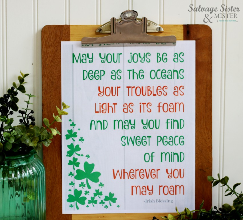 picture relating to Printable Irish Blessing referred to as Irish Blessing March Cost-free Printable - Salvage Sister and Mister