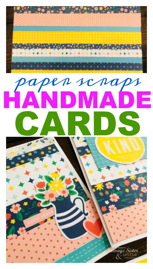 What to do with leftover pieces of paper? If you are a scrapbook crafter, you may come across this issue and here is a great way to use it up - paper scraps handmade cards. This makes use of things often throw away and can be a great way to save money by making your own greeting cards. #reuse #crafts #budgetfreindly